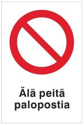 Älä peitä palopostia 100x150 mm tarra