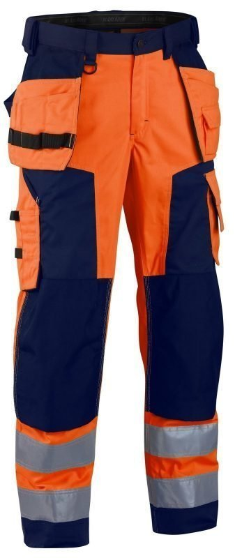 Blåkläder Highvis softshell riipputaskuhousut Oranssi/Mariininsininen