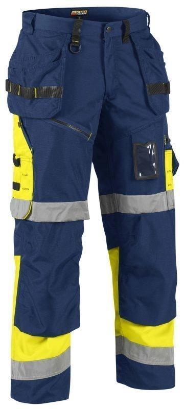 Blåkläder X1500 Highvis riipputaskuhousut Mariininsininen/Keltainen