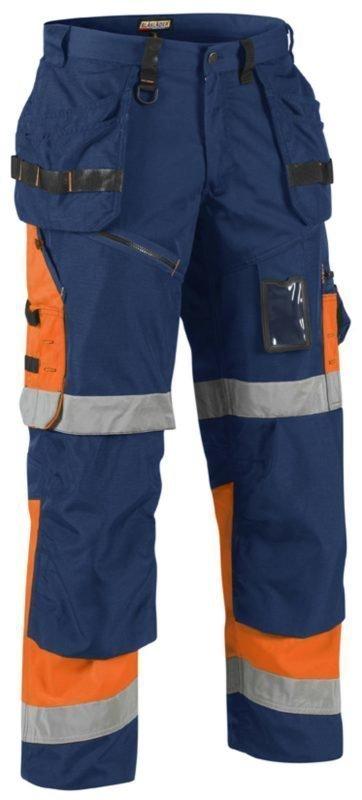 Blåkläder X1500 Highvis riipputaskuhousut Mariininsininen/Oranssi