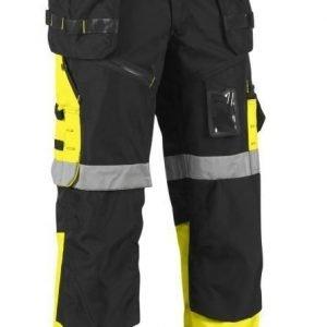 Blåkläder X1500 Highvis riipputaskuhousut Musta/Keltainen