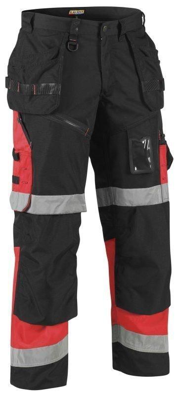 Blåkläder X1500 Highvis riipputaskuhousut Musta/Punainen