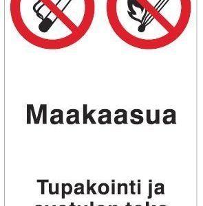 Maakaasua Tupakointi ja avotulen teko kielletty 200x300 mm