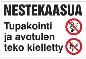 Nestekaasua Tupakointi ja avotulen teko kielletty 400x300 mm