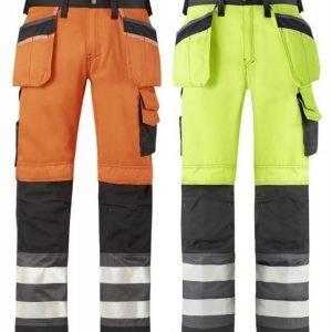 Snickers Varoitusvaate housut riipputaskuilla luokka 2 eri värejä