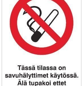 Tässä tilassa on savuhälyttimet käytössä 200x300 mm